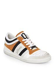 Galliano Suede Stripe Sneakers White
