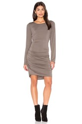 Heather Shirred Side Scoop Back Dress Gray
