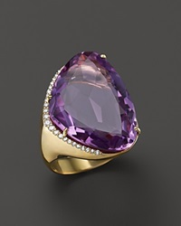Vianna Brasil 18K Yellow Gold Ring With Amethyst And Diamond Accents Purple Gold