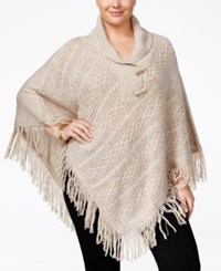 Karen Scott Plus Size Cable Knit Fringe Poncho Only At Macy's Beige Marble