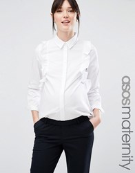 Asos Maternity Smart Ruffle Front Shirt White