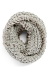 Women's La Fiorentina Infinity Scarf With Genuine Rabbit Fur Fringe Grey Light Grey