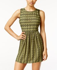 City Triangles Studios Juniors' Sleeveless Printed Fit And Flare Dress Olive Black