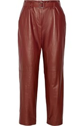 Adam By Adam Lippes Cropped Leather Straight Leg Pants Red