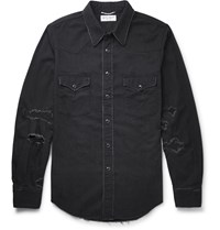 Saint Laurent Slim Fit Distressed Denim Western Shirt Black