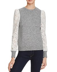 Rebecca Taylor Lace Sleeve Sweater Grey