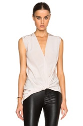 Lanvin Cross Drape V Neck Silk Blouse In Pink