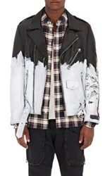Faith Connexion Men's Painted Perfecto Moto Jacket Black