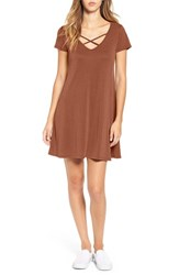 Socialite Women's Cross Front T Shirt Dress Tobacco Solid