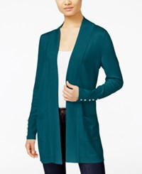 Jm Collection Petites Petite Open Front Cardigan Only At Macy's Teal Abyss