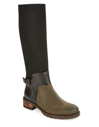 Elie Tahari Marvel Mixed Media Riding Boots Forest Green