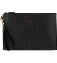 Gucci Web Tab Textured Leather Pouch Black