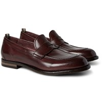 Officine Creative Ivy Polished Leather Penny Loafers Burgundy
