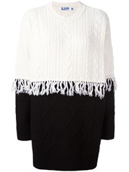 Steve J And Yoni P Cable Knit Fringed Jumper White