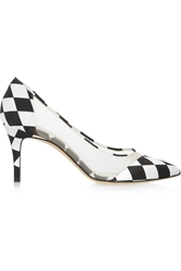 Bionda Castana Lama Printed Satin And Mesh Pumps White