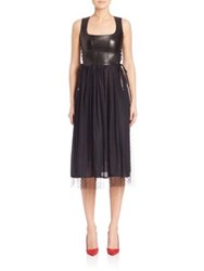 Red Valentino Faux Leather Point D'esprit Midi Dress Black