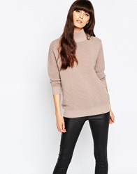 Selected Laua Ribbed Jumper With Turtleneck Pink