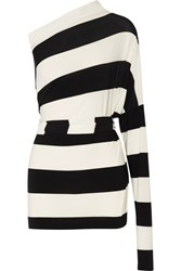 Norma Kamali All In One Striped Stretch Jersey Mini Dress Black