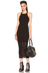 Rick Owens Ribbed Cotton Tank Dress In Black