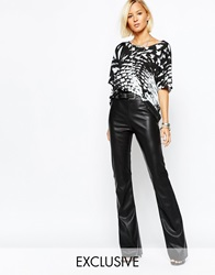Religion Leather Look Bell Bottom Flare Trousers Black