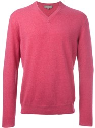 N.Peal 'The Burlington' V Neck Sweater Pink And Purple