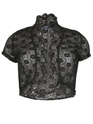 Samya Plus Size Scalloped Edge Lace Bolero Black