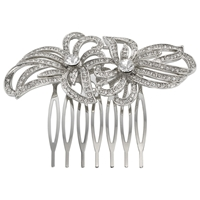 John Lewis Double Flower Hair Slide Silver