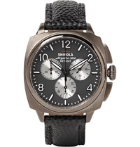 Shinola The Brakeman 40Mm Stainless Steel And Pebble Grain Leather Chronograph Watch Gray