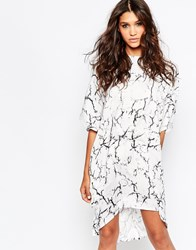 Aka Graphic Oversized Shirt Dress White