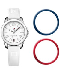 Tommy Hilfiger Women's Casual Sport White Silicone Strap Watch And Interchangeable Bezels Set 34Mm 1781680