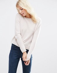 Asos Cropped Jumper With Rolled Edge Detail In Fluffy Yarn Pale Oatmeal Beige