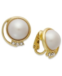 Charter Club 14K Gold Plated Plastic Pearl Dome Earrings