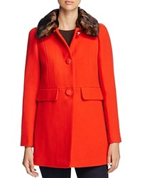 Kate Spade New York Feminine Faux Fur Coat Red