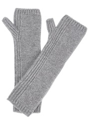 Johnstons Of Elgin Light Grey Fingerless Cashmere Gloves