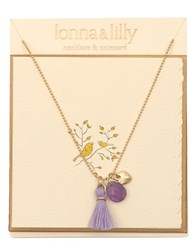 Lonna And Lilly Gold Plated Amethyst Beaded Necklace 16 In. Purple