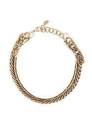 Elizabeth Cole Embossed Chain Necklace Metallic