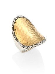 John Hardy Classic Chain Hammered 18K Yellow Gold And Sterling Silver Oval Ring Silver Gold