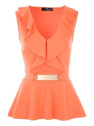 Jane Norman V Front Frill Peplum Top Coral