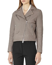 Reiss Favour Pebbled Leather Moto Jacket
