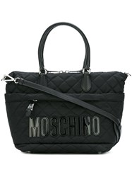 Moschino Quilted Logo Tote Bag Black