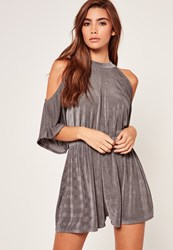 Missguided Cold Shoulder Ruched Waist Slinky Playsuit Grey