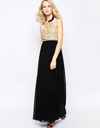 Little Mistress Maxi Dress With Sequin Top Gold Black