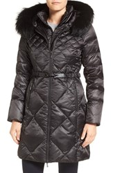 1 Madison Women's Bib Inset Down Coat With Genuine Fox Fur Trim