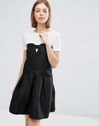 See U Soon Skater Dress With Cut Out Front Black