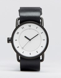 Tid No 1 Leather Watch In Black With White Face Black