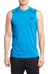 Men's Under Armour 'Raid' Heatgear Fitted Tank Top Electric Blue Black