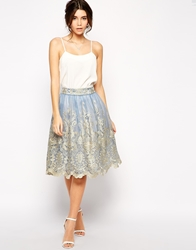 Chi Chi London Premium Metallic Lace Full Midi Skirt Cornflower