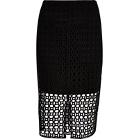 River Island Womens Black Circle Lace Pencil Skirt