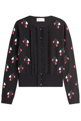 Red Valentino Wool Floral Knit Cardigan Black