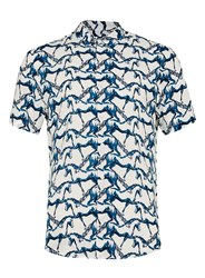 Topman White And Blue Horse Print Viscose Casual Shirt